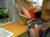 hot camgirl Josie fucks in kitchen