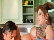 Latina BBW fucked hard in the kitchen